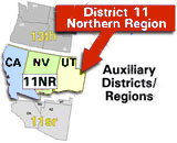 Map of USCG Auxiliary District 11 Northern Region which includes most of California, Nevada, and Utah